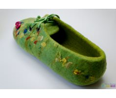Женские валяные тапочки зеленые с бож коровками
