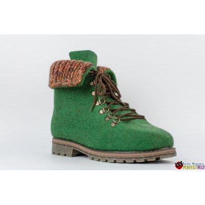 Женские ботинки ручной работы из войлока зеленые
